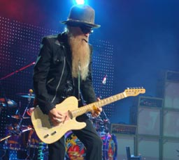 Billy Gibbons playing the guitar I striped..